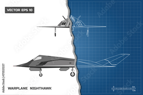 Outline drawing of plane on blue background industrial blueprint of outline drawing of plane on blue background industrial blueprint of military airplane side and malvernweather Gallery