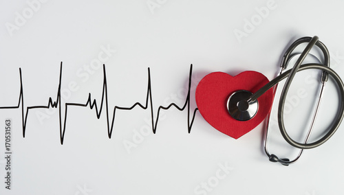 Medical stethoscope and red heart with cardiogram Wallpaper Mural