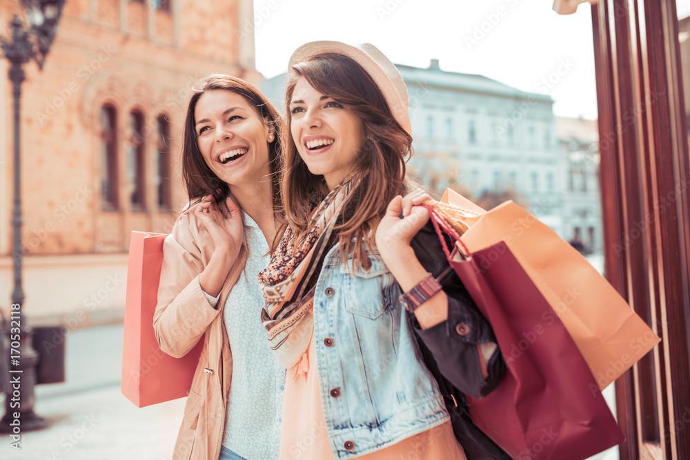 Fototapeta Young woman after shopping