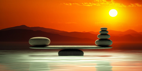 Obraz Zen stones scales on sunset background. 3d illustration