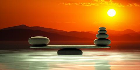 Panel Szklany Japoński Zen stones scales on sunset background. 3d illustration