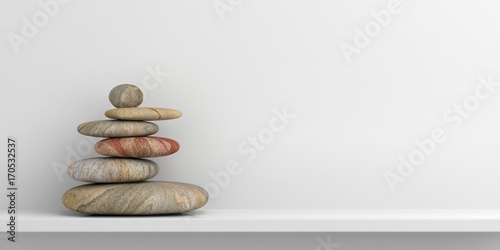Zen stones on a white shelf. 3d illustration Canvas Print