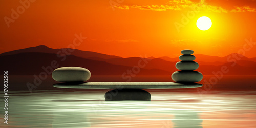 Zen stones scales on sunset background. 3d illustration Wallpaper Mural