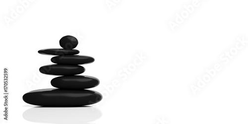 Zen stones stack on white background. 3d illustration Canvas Print