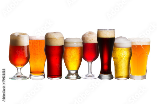 Papiers peints Biere, Cidre Set of various beer glasses. Different glasses of beer. Ale isolated on white background