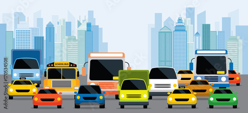 vehicles-on-road-with-traffic-jam-front-view-with-city-background