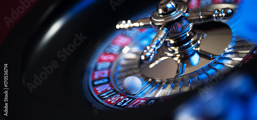 Roulette in casino and Poker Chips Fototapet