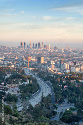 Smoggy morning sunrise overlooking downtown Los Angeles from Hollywood Hills Canvas Print