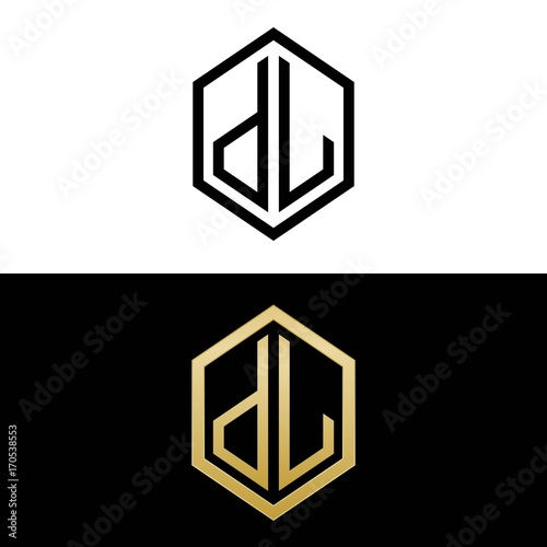Initial Letters Logo Dl Black And Gold Monogram Hexagon Shape Vector Buy This Stock Vector And Explore Similar Vectors At Adobe Stock Adobe Stock
