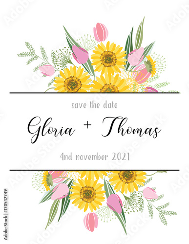 Greeting card for the wedding day Canvas-taulu