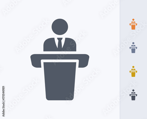 Leinwand Poster Businessman Holding Speech - Carbon Icons