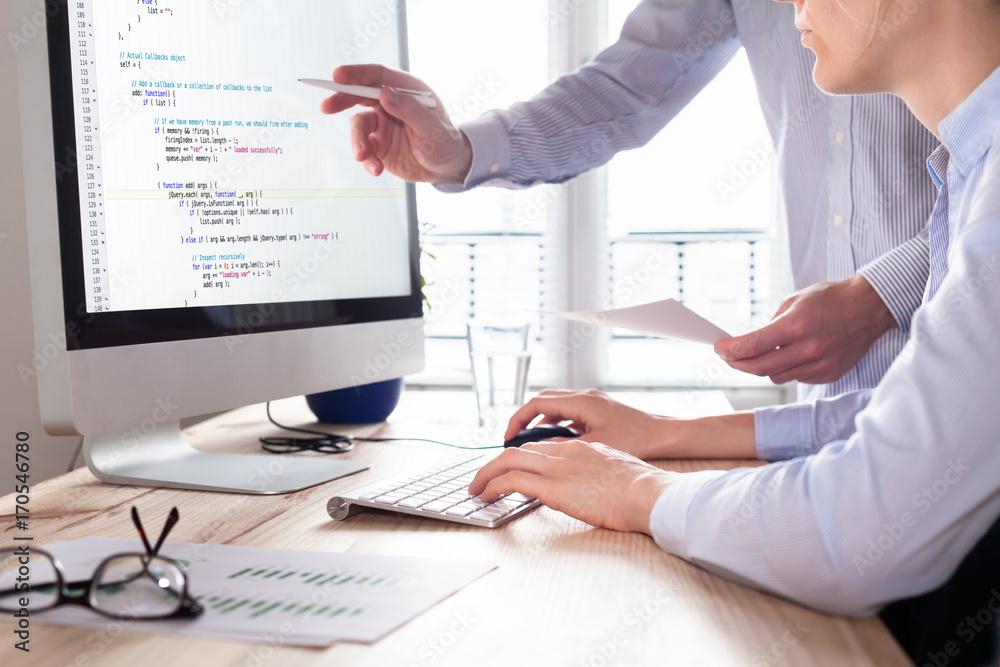 Fototapeta Team of web app developers coding website source code, debugging