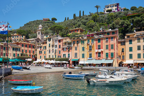 Spoed Fotobehang Amsterdam Portofino beautiful village with colorful houses in Italy in a clear sunny summer day