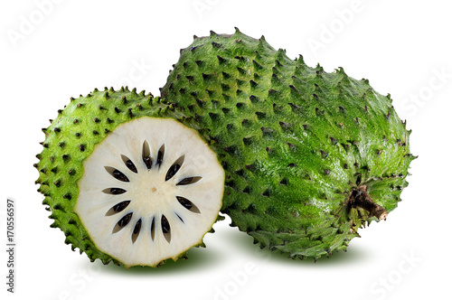Annona muricata.Soursop fruit (Sugar Apple ,custard apple ) isolated on white