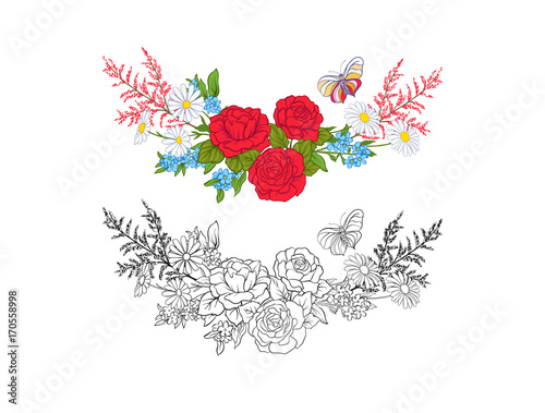 e18340c0e Bouquet with roses and daisies. Traditional European pattern. Stock line  vector illustration. Outline hand drawing coloring page for adult coloring  book ...