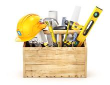 Wooden Box Full Of Tools. 3d Illustration