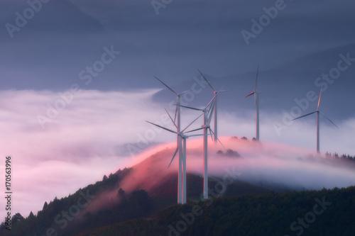 Fototapeta  renewable energy with wind turbines