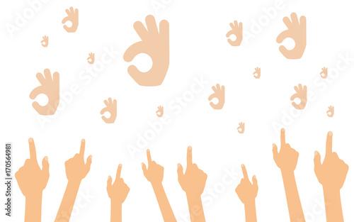 Fotografie, Obraz Hände zeigen auf Exzellent-Handgesten