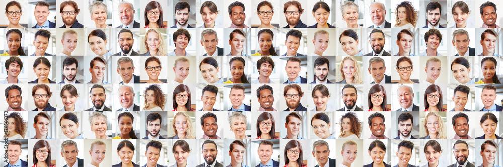 Fototapeta Viele Geschäftsleute Porträts als multikulturelles Team
