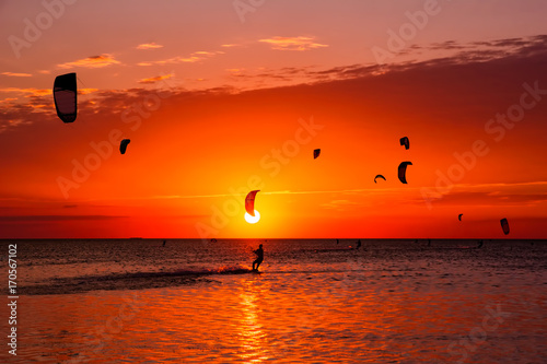Foto auf Leinwand Rot Kite-surfing against a beautiful sunset. Many silhouettes of kites in the sky. Holidays on nature. Artistic picture. Beauty world.