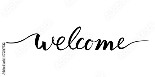 Photo  welcome lettering text. Modern calligraphy style illustration.