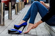 Slender Female Feet In Inconve...