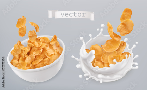 Foto Corn flakes and milk splashes. 3d realistic vector icon set