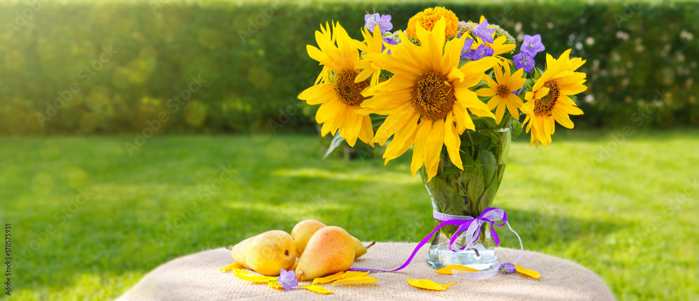 A bouquet of yellow sunflowers . Holiday card.