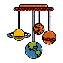 Planets Of Galaxy Hanging Icon Vector Illustration Graphic Design