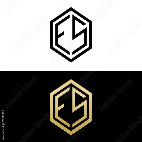 Initial Letters Logo Es Black And Gold Monogram Hexagon Shape Vector Buy This Stock Vector And Explore Similar Vectors At Adobe Stock Adobe Stock