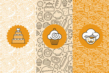 Vector Set Of Design Templates And Elements For Bakery Packaging In Trendy Linear Style
