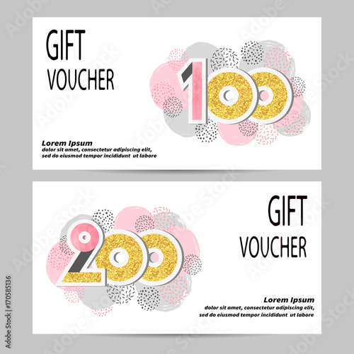Gift Voucher Template With Glittering Numbers Certificate