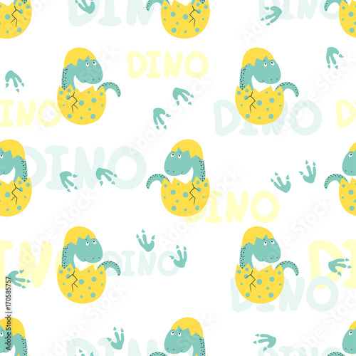 Cotton fabric Cute little dinosaur in egg seamless pattern. Vector background for kids.