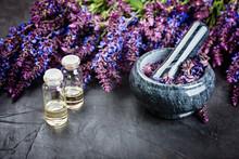 Sage Plant,  Essential Oil And  Stone Mortar On Dark Background. Alternative Health Care Fresh Salvia Flowers.