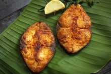 King Fish Fry On Banana Leaf, Selective Focus