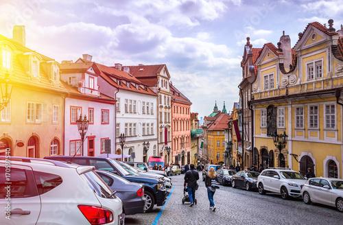 Plakat Praga jest stolicą Republiki Czeskiej, państwa europejskiego. Zabytki historyczne.