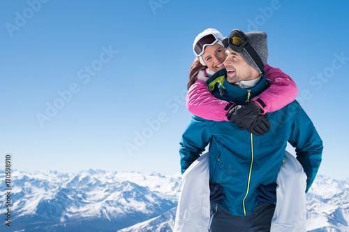Happy couple in snow