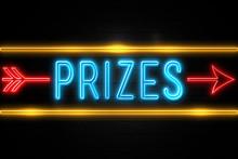 Prizes  - Fluorescent Neon Sign On Brickwall Front View