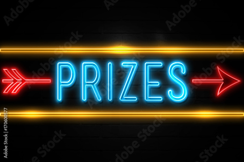 Fotografering  Prizes  - fluorescent Neon Sign on brickwall Front view