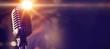 Leinwanddruck Bild - Microphone at concert