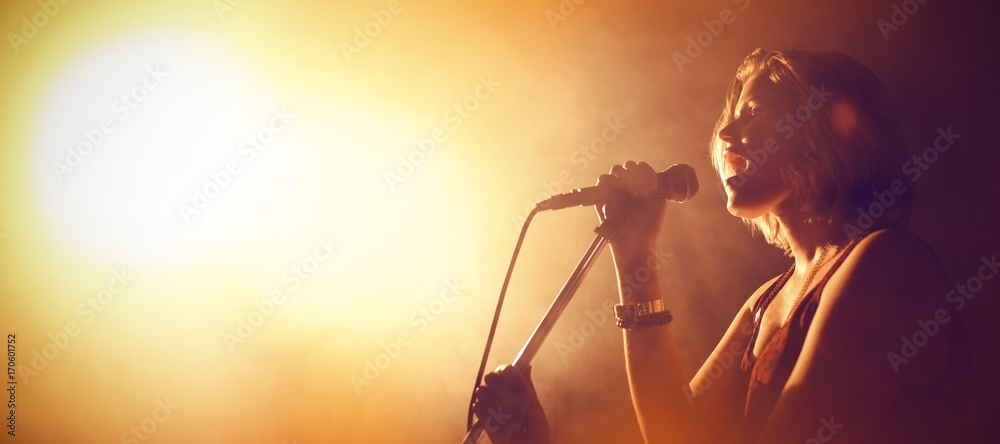 Fototapeta Singer performing in club