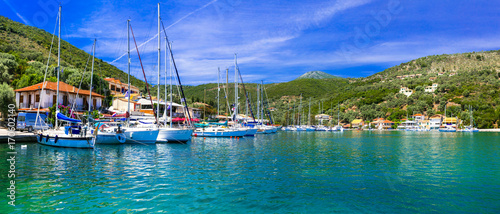 Deurstickers Stad aan het water Pictorial fishing village Sivota in Lefkada, Ionian island