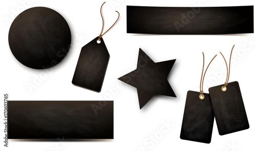 Fototapeta Kreidetafel - Etiketten und Banner Set mit Textur obraz