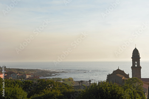 Sunset at Monastery of Santa Maria de Oia, Pontevedra province, Galica, Spain