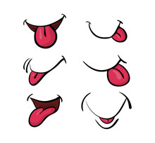 Cartoon Mouth With Tongue Set ...
