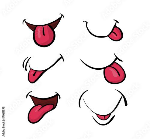 Fotografia cartoon mouth with tongue set vector symbol icon design