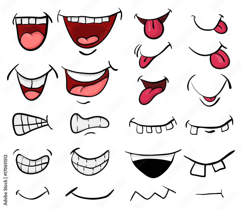 Fototapety, obrazy: cartoon mouth set vector symbol icon design. Beautiful illustration isolated on white background