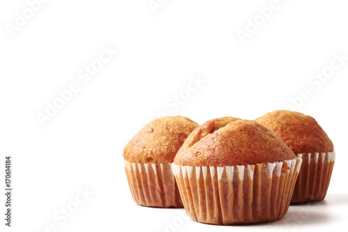 Fotografie, Obraz  Banana cupcakes on a white background, Free space for text.
