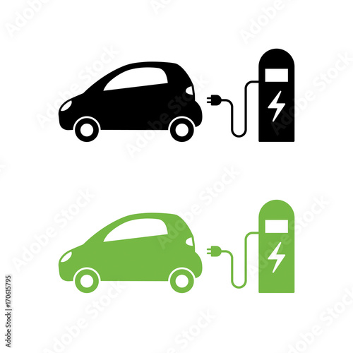 599275eac Electric car and electrical charging station icon. Hybrid Vehicle symbol. Eco  friendly auto or electric vehicle concept.