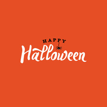 Happy Halloween Typography With Spider Over Orange And Black, Vector Illustration